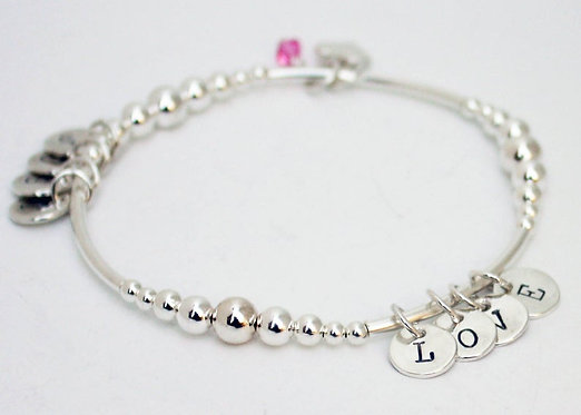 Sterling Silver Initial Bracelet, Grandchild Bracelet Personalized Initials