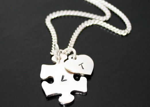 Autism Necklace, Sterling Silver personalized puzzle pendant, autism awareness