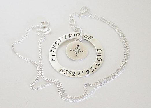 Coordinates Pendant Compass Necklace Personalized longitude latitude GPS