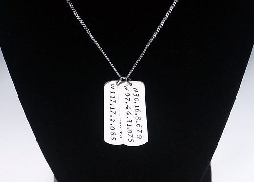 Custom Coordinate Dog Tag Necklace Solid Sterling Silver