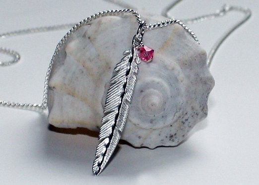Sterling Silver Feather Pendant Necklace with Crystal bead Accent