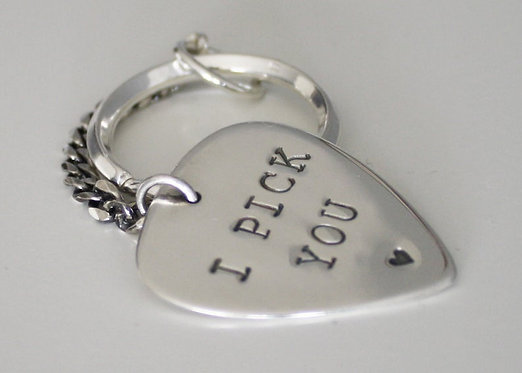 Guitar Pick Keychain Personalized BOTH sides in solid sterling silver. I Pick Yo