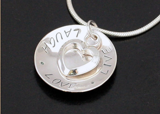 Live Laugh Love, sterling silver heart pendant mothers day necklace