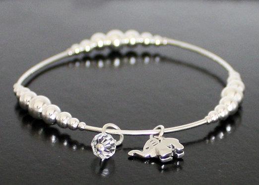 Elephant Bracelet (Stretch) in Sterling Silver