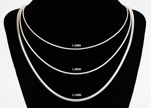 Snake Chain Necklace Sterling Silver 1.5mm 1.9mm 3mm