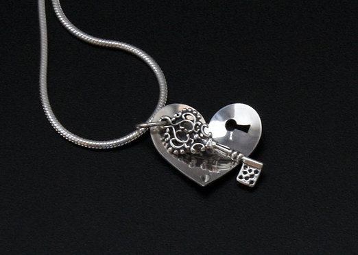Key and Heart Necklace Sterling silver Valentine Pendant You hold the key to my