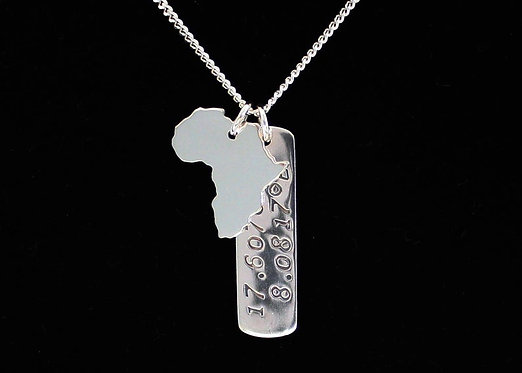 Africa Necklace Dog Tag Necklace Solid Silver 925 Continent Country Province Sta