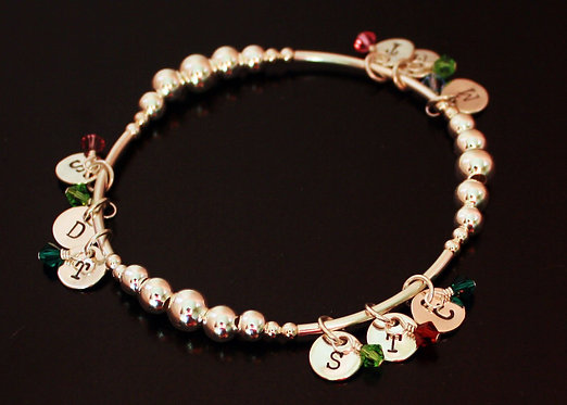 Personalized Bracelet with Initials and Birthstones Sterling Silver