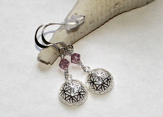 Sterling Silver Seed of Life Birthstone earrings, silver filigree