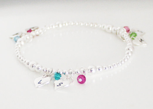 Personalized Bracelet with Initials on Hearts and Birthstones in Sterling Silver