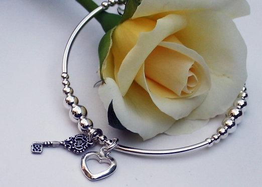 Sterling Silver Heart and Key Bracelet, Charm Bracelet, Elasticated
