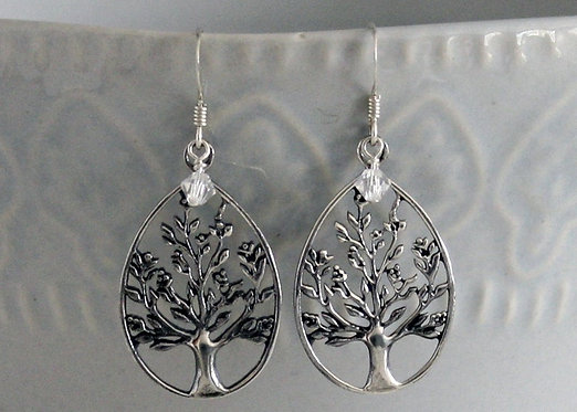Tree of Life Sterling Silver Earrings with Crystal bead Accent, pierced oval