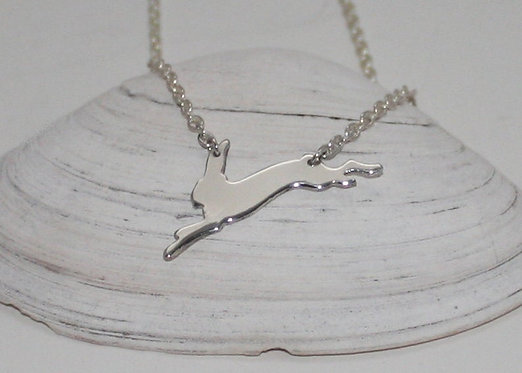 Rabbit Pendant, Sterling Silver Leaping Hare Pendant, Easter, Bunny