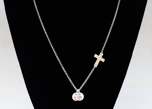 Cross necklace Sterling Silver Necklace Personalized Sideways Cross