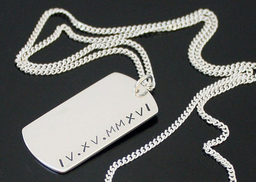 Personalized Sterling Silver TWO SIDED Dog Tag Necklace, Roman Numeral