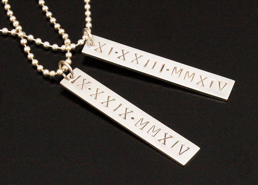 Roman Numeral Sterling Silver Dog Tag