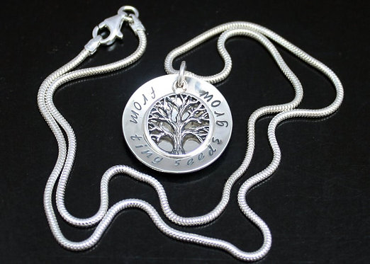 Tree of Life Necklace TWO SIDED Sterling silver personalized family tree pendant