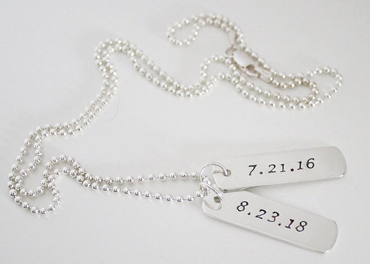 Dog Tags Necklace, TWO SIDED Sterling Silver Mans or Womens Personalized Dates