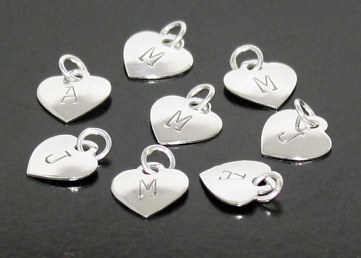 Initial Charm Sterling Silver .925 Heart Tag