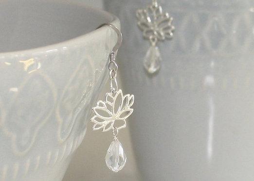 Lotus Flower Earrings, Sterling Silver, Yoga Jewelry, Lotus Flower Jewelry