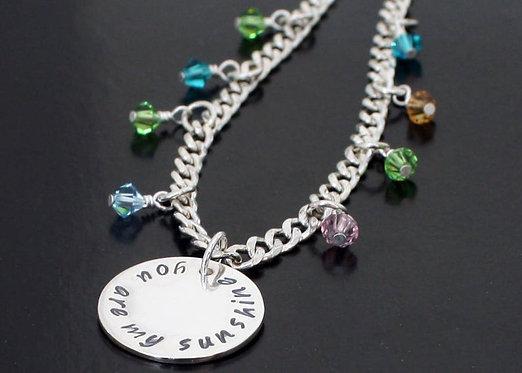Grandchild Bracelet You are my sunshine bracelet solid sterling silver