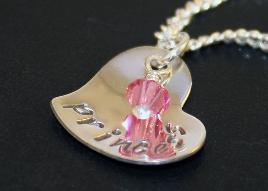 Silver heart necklace, hand stamped heart, princess pendant, personalized heart