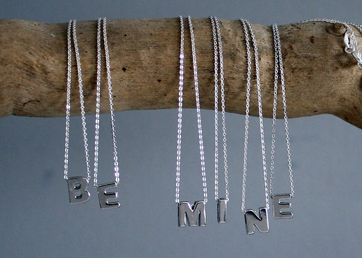 Initial Necklace in solid sterling silver, Tiny silver letter on silver chain