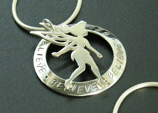 Tinkerbell necklace, Sterling Silver Tinkerbell Pendant, Peter Pan Pendant