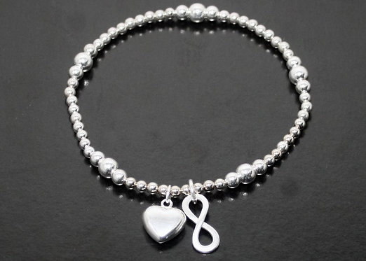 Sterling Silver infinity Bracelet, Sterling Silver infinity charm