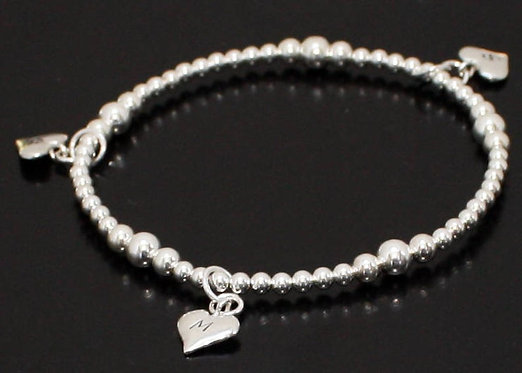 Mother Daughter Bracelet Solid Sterling Silver personalized initial hearts