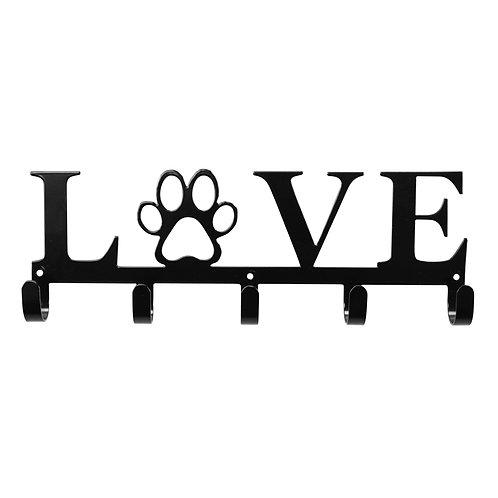 Love with Paw - Metal Key/Leash Wall Hanger