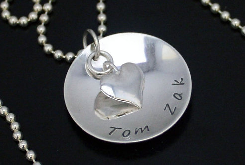 Personalized Kids names pendant with heart Sterling silver mothers day necklace