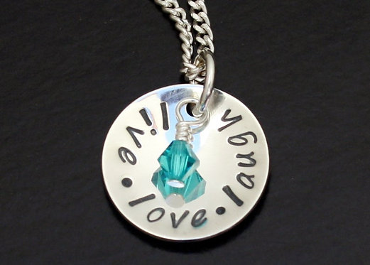 Live love laugh necklace, hand stamped pendant, personalized necklace