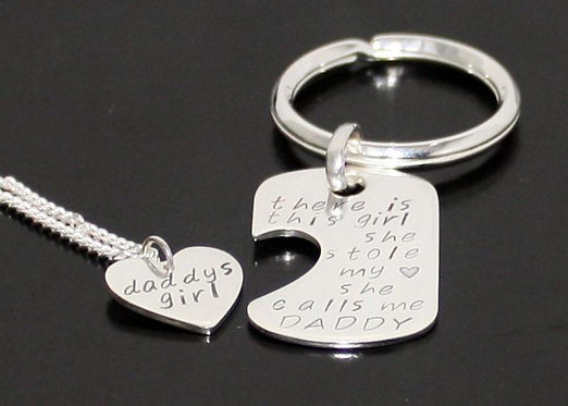 Sterling Silver Father Daughter Dog Tag Key Chain and Heart Pendant