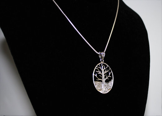 Tree of Life Oval Necklace in Sterling Silver