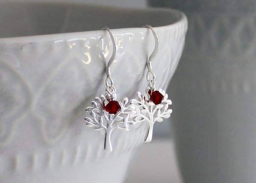 Tree of Life Sterling Silver Earrings with Crystal bead Accent