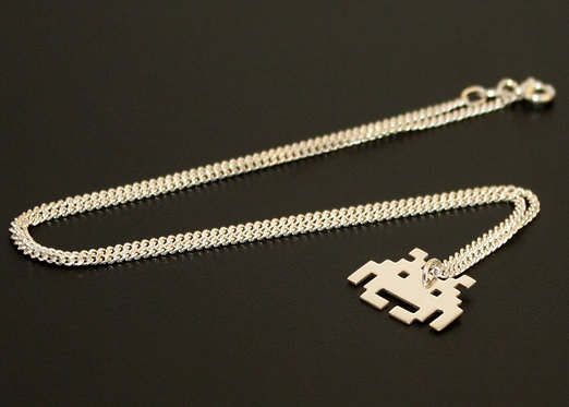 Space Invader Necklace, Gift for dad, Valentines gift geeky, Gamer, Geek Dad Gee