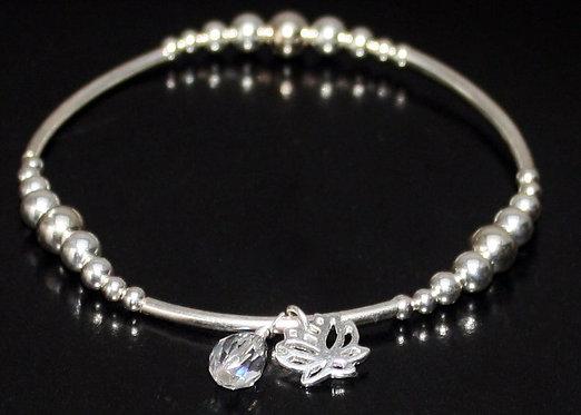 Sterling Silver Lotus Flower Bracelet, Yoga Bracelet, Lotus Flower Charm