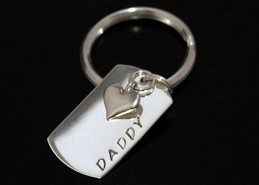 Sterling silver key ring, fathers day keyring, Heart Key Fob, Custom Dog Tag