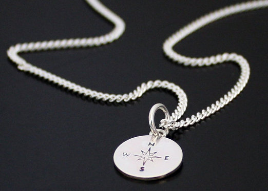 Compass Necklace Silver Compass Pendant GPS Sterling silver personalized