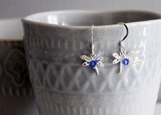 Dragonfly Sterling Silver Earrings with Crystal bead Accent