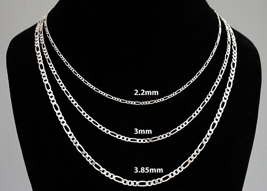Figaro Chain Necklace in Sterling Silver 2.2mm 3mm 3.85mm