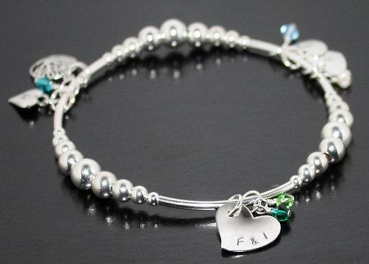 Silver Initials Bracelet Personalized Bracelet Grandchild bracelet mother