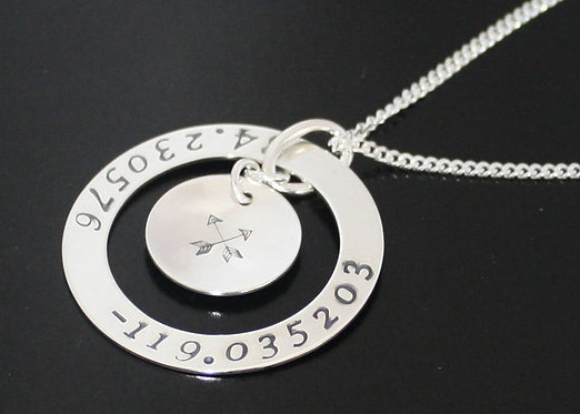 Custom Coordinate Necklace in Solid Sterling Silver Degrees Minutes Seconds