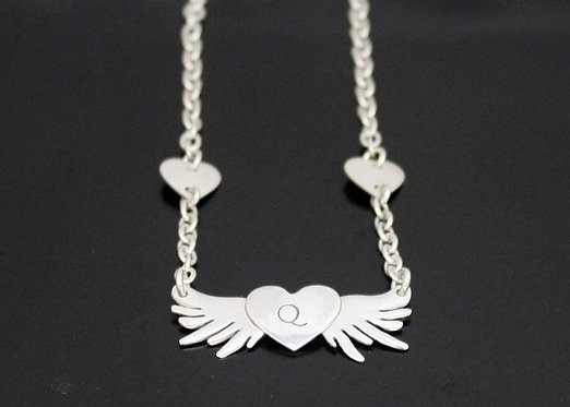 Heart and Wings Valentines Necklace Sterling Silver Heart