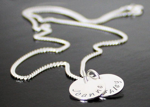 Name Necklace, Personalized Sterling Silver kids BFF date pendant