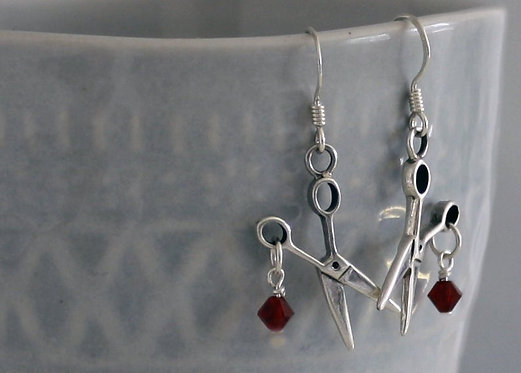 Scissors Earrings, Sterling Silver, Birthstone FREE SHIPPING