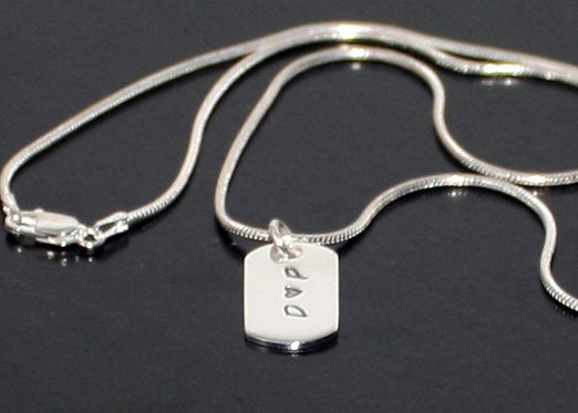 Sterling Silver Dog Tag, Valentines Gift