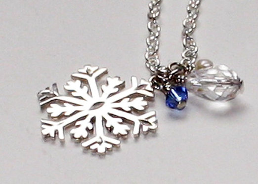 Snowflake necklace Sterling Silver Snowflake Pendant, Christmas Necklace