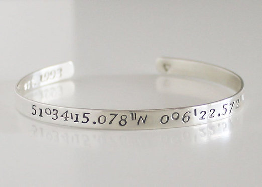 Custom Coordinate Cuff Sterling Silver Latitude Longitude GPS Bangle